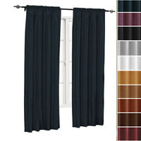 Single Soho Faux Silk Window Curtain Panels Solid Rod Pocket Curtains