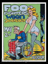 Coop Foo Fighters Ween Silkscreen Concert Poster 1996 Superman Comic Signed Mint
