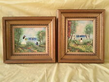 2 Louis Cardin Enamel On Copper Paintings, Original & Signed Framed Art 1978