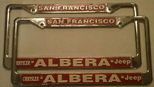 NOS San Francisco CA Alberta Chrysler Dealership Metal License Plate Frame SET 2