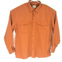 Cabela's Men's Long Sleeve Orange Vented Fishing Button Up Shirt Size XL