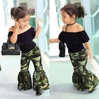 Children Baby Girl Ruffles Tops+Flare Pants Bell Bottoms Kids Set Outfit Clothes