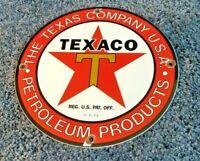 VINTAGE TEXACO GASOLINE PORCELAIN METAL AD SERVICE STATION PUMP PLATE SIGN
