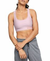 Under Armour Heathered Cross-Back Medium-Support Sports Bra Size Small Pink