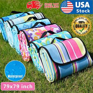 "79""x79"" Waterproof Picnic Mat Blanket Pad Outdoor Folding Camping Beach Blanket"