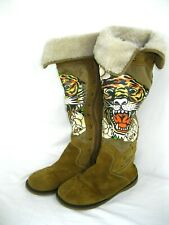"Ed Hardy Tall Boots""EYE OF THE TIGER"" Suede Faux Fur Brown metal embellish Sz 7"