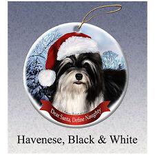 Havanese Black Howliday Porcelain China Dog Christmas Ornament