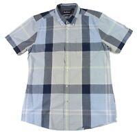 Barbour Mens Shirt Blue Size Medium M Button Down Plaid Printed Pocket $99 #090