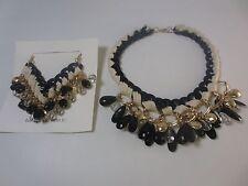Banana Republic Charm Chain Toggle Cream Black Gold Necklace Bracelet NWT $110