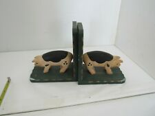 Pair Of Wooden Pig Bookends, Home Decor, Country Kitchen