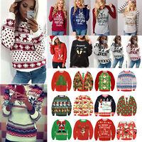Women Christmas Xmas Long Sleeve Hoodie Sweatshirt Winter Sweater Pullover Tops