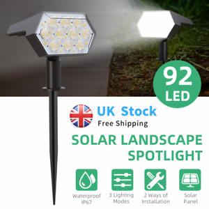 92LED Solar Powered Landscape Spotlight Waterproof Garden Yard Lights Outdoor UK