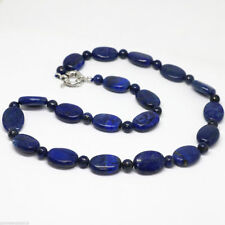 Genuine natural 13x18mm blue lapis lazuli oval bead 6mm spacer chain necklace18""
