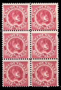 Newfoundland Early 1896 Block of Six 5-MNH 1-MH Scott #57 F/VF CV $510.00 OG