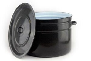 XXL Emaille 32 L Liter Behälter Topf Schwarz Koch-Topf mit Deckel emailliert 30