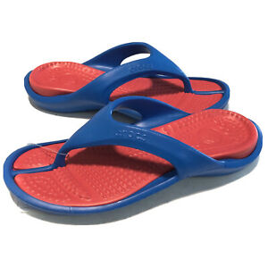 Crocs Athens Unisex Thong Flip Flop Sandals Unisex Men's Size 10 US Red Blue