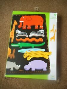 DJECO ~  RELIEF PUZZLE  ~ JUNGLE  11 Wooden Pieces BOXED  Age 18 Months +