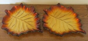 """Set of 2 Brown & Gold Glazed Metal Leaf Dishes Fall Table Decoration 9""""x7.5"""" ea."""