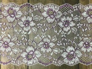 "laverslace Pink & Lavender Purple Floral Stretch Wide Lace Trim 5.25""/13.5cm"
