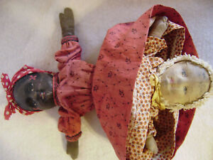 """TOPSY -TURVY  Bruckner 1901 Black White Cloth  DOLL 11""""  Lithographed Faces"""