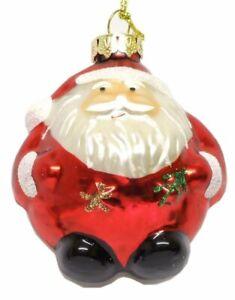 Gisela Graham Set of 3 Christmas Glass Santa Tree Bauble Decoration