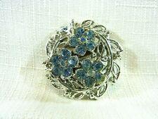 Vintage Estate Light Blue Rhinestone Flower Silver Tone Metal Brooch/Pin