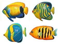 Tropical Reef Fish Set of 4 Recycled Metal Wall Art Garden Deck Pool Fence