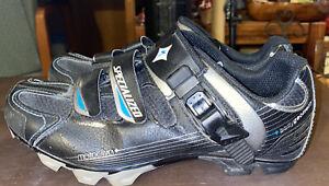 Specialized Motodiva Mountain Bike MTB Shoes Womens 7.5 Black Leather 3 Strap