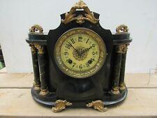 Antique Metal New Haven Mantle Clock Ornate Gilded Gold & Black