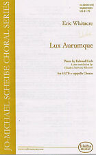 Eric Whitacre: Lux Aurumque SATB Sheet Music Vocal Score