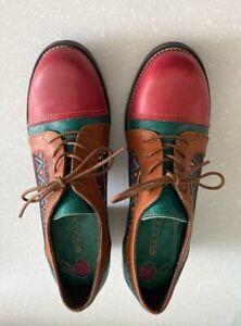 "NEW SOCOFY Women's Handmade 2"" Chunky Heel Lace Up Geometric Shoe Size 7/8 EU40"