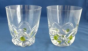 Pair Floride by Lalique Crystal15 oz. Flat Tumblers Lime Green Accents France
