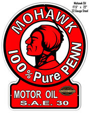 Mohawk 100% Pure Reproduction Motor Oil Cut Out Metal Sign 17.5x22