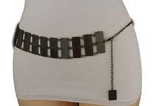 New Women Wide Waistband Vintage Antique Gold Color Metal Fashion Belt Fit S M L