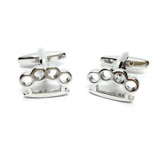 Rhodium Plated Knuckle Duster Cufflinks & Gift Pouch