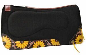 "Showman 32"" x 31"" Black Felt Built Up Saddle Pad with Hand Painted Sunflower!"