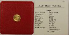 1980 FAO Money Collection Tonga 10 Pa'anga Gold Coin Equality Development Peace