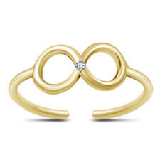 Round Cut Diamond Infinity Toe Ring 14K Yellow Gold Over 925 Sterling Silver