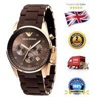 NEW Emporio Armani AR5890 Rose Gold Brown Men's/Gents Sportivo Chronograph Watch