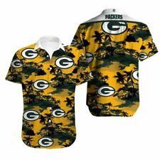 US Stock Green Bay Packers Hawaiian Shirt Mens Short Sleeve Button Down T Shirt