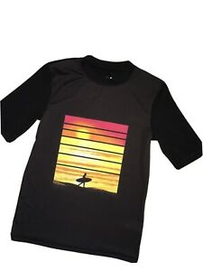 Boys CAT & JACK Black Swim Shirt Sunset Surfer XL 16 Recycled Polyester VGLNC