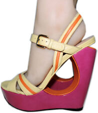 Stuart Weitzman Cut out Pink Wedge Sandals Color Block Slingback Shoes 8