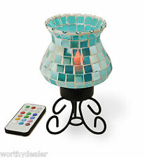 Mosaic Glass Lamp Wireless Candle Light Remote Control  Battery Multicolour bulb