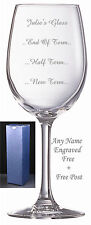 Personalised Engraved Wine Glass Teacher new term half term end of term gift