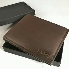 Personalised Leather Mens Wallet Black / Brown Engraved Etched Dad Daddy Grandad