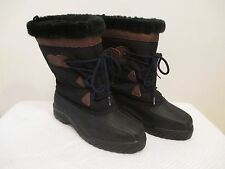 "Womens Size 7 10.5"" Tall Lacrosse Black Faux Fur Top Snow Boots w/ Liners"