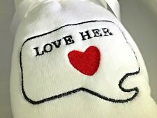 Embroidered Hand Towels ....... LOVE HER/LOVE HIM