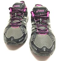 Asics Womens T283N Gel Venture 3 Black Gray Pink Trail Running Shoes Size 9.5 Us