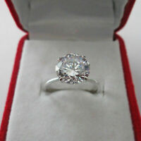 Solitaire Engagement Ring 3.50Ct Round Cut D/VVS1 Diamond 14k White Gold Finish