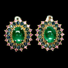 NATURAL GREEN EMERALD & SAPPHIRE EARRINGS 925 SILVER STERLING